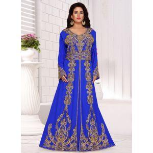 Brilliant Blue Fashionable Moroccan Kaftan