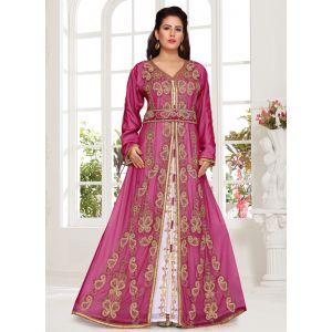 Smart Pink Color Stylish Crystal Studded Moroccan Kaftan