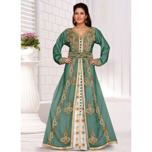 Trendy Green Color Faux Georgette Fashionable Kaftan