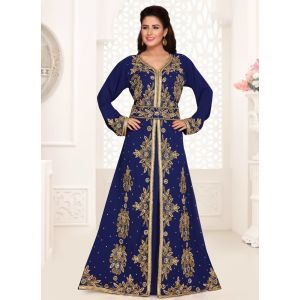 Swank Blue Color Fashionable Full Sleeves Kaftan