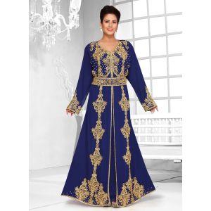 Scintillating Blue handmade Designer Kaftan