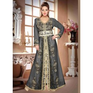 Attractive Grey Color Embroidered Long Kaftan Dresses