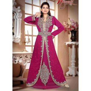 Swank Pink Color Fashionable Bell Sleeves Kaftan