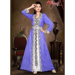 Scintillating Purple Color Faux Georgette Moroccan Kaftan
