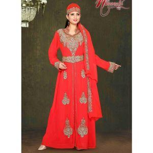 Smart Red Color Stylish Crystal Studded Moroccan Kaftan