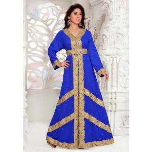 Swank Blue Color Fashionable Full Sleeves Designer Kaftan
