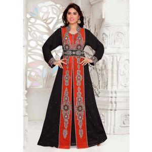 Comfortable Black Color Designer Full Sleeve Moroccan Styles Kaftan
