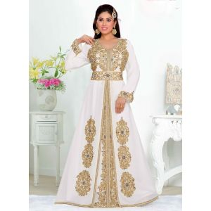 Scintillating Off White Color Faux Georgette Moroccan Kaftan