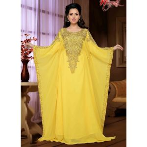 Yellow color Designer-Georgette Kaftan