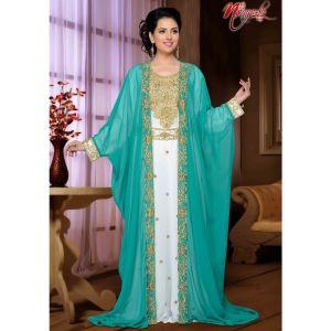 Cool Green & White Color Modern Designer Kaftan