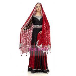 Elegant Black & Red Wedding Designer Kaftan