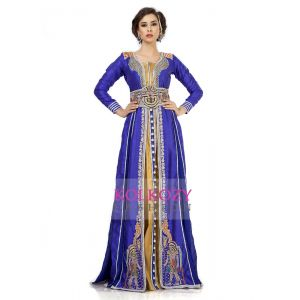 Effective Blue & Gold Color Jacket Style Moroccan Embroidered Wedding Kaftan