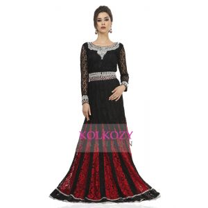 Gleaming Black & Red Wedding Kaftan