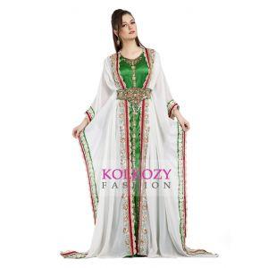 Fancy Long Length White Moroccan Takchita Kaftan