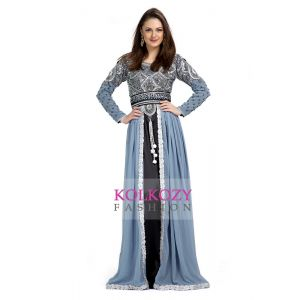 Gray color Exclusive Kaftans-Chiffon Designer Kaftan