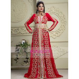 Red and White color Kaftan-Crepe Kaftan - Final Sale