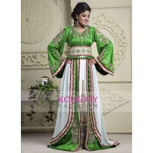 Green and Off White color Kaftan-Crepe Kaftan - Final Sale