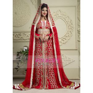 Red and White color Kaftan-Crepe Kaftan with Veil