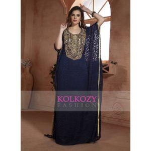 Dark Blue  Modern Kaftan Dress Hand beaded