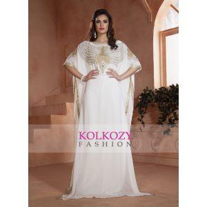 White color Kaftan Dress-Georgette Hand beaded Designer Kaftan