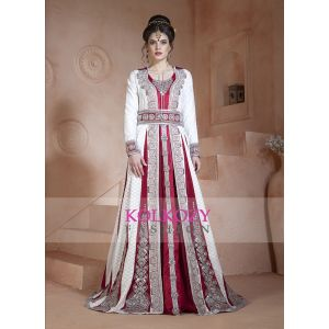 Off White and Maroon Color Embroidered  &  Handmade Moroccan Wedding Long Sleeve Dress  Kaftan