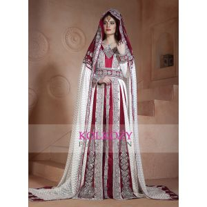 Off White and Maroon Color Embroidered  &  Handmade Moroccan Wedding Long Sleeve Dress Kaftan Vail