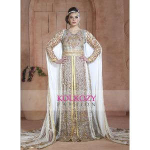 Contemporary Classy Gold and Off White & Gray Modern Moroccan Wedding Long Sleeve Dress Kaftan - Final Sale