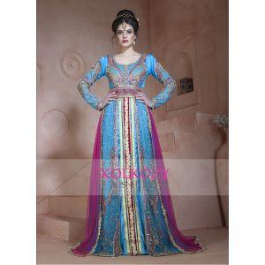 Ferozi and Dark Pink Color Designer  Handmade Arabic  Moroccan Long Sleeve Wedding Caftan With Train - Final Sale