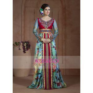 Dark Pink and Pastel Color Exclusive Kaftans-Georgette Long Party Moroccan Long Sleeve Dress Kaftan