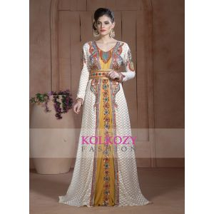 Off White and Golden Color Moroccan Hand beaded Caftan