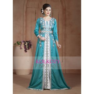 Exquisite Turquoise and White Moroccan Party Wear Handmade Kaftan