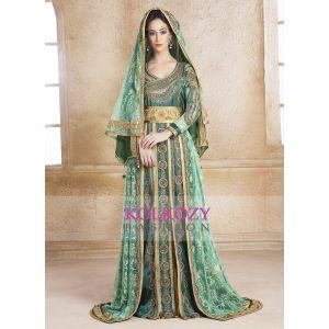 Scintillating Green Hand beaded  Arabian Design Kaftan With Veil