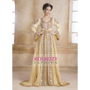 Gold color designer Hand beaded  DUBAI Ladies Long Sleeve Moroccan Party Wedding  kaftan - Final Sale