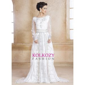 White Color Designer  Handmade Arabic  Moroccan Long Sleeve Wedding Caftan