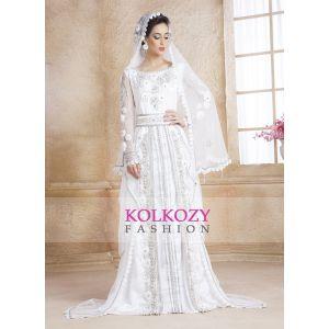 White Color Designer  Handmade Arabic  Moroccan Long Sleeve Wedding Caftan With Veil - Final Sale