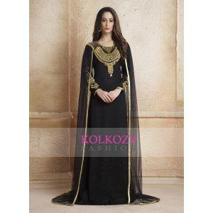 Black color Net Brasso  Arab Dubai Style kaftan With Veil