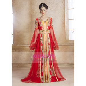 Contemporary Classy Gold and Red Modern Moroccan Wedding  Dress Kaftan
