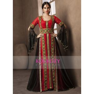 Red and Black Color Moroccan Style Embroidery Kaftan