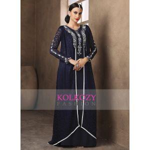 Exquisite Dark Blue Party Wear Thread Work Kaftan Style Dress