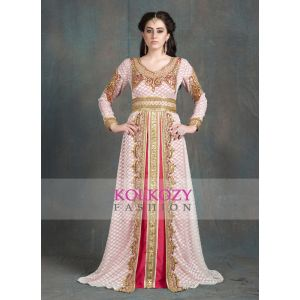 Off White and Pink Moroccan Party Wear Golden Handwork Kaftan