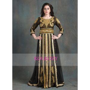 Black and Gold Color Designer  Handmade Arabic  Moroccan Long Sleeve Wedding Caftan