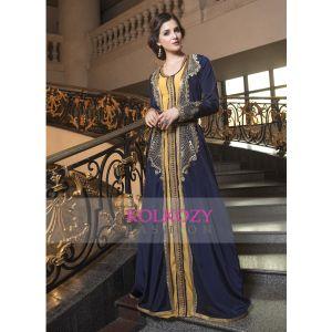 Dark Blue Thread Work style fabric dubai party Wear Designer Kaftan
