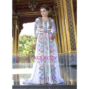 Moroccan Style Long Sleeve White Color wedding Kaftan With Rose and Stone Work - Final Sale