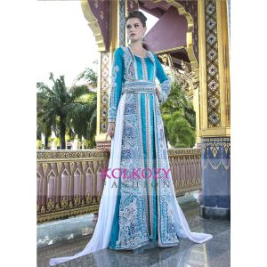 Firozi color Moroccan Wedding Kaftan with Pearl HandWork and White Train