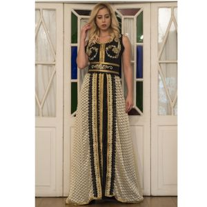 Black and Beige  Partywear Moroccan Style Dress