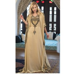 Beige Color Hand Beaded kaftan