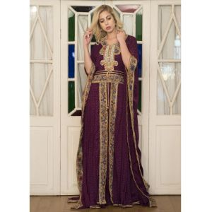 Violet Color Embroidery Moroccan Kaftan