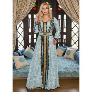 Aqua Blue  Moroccan Wedding Kaftan With Thread Work