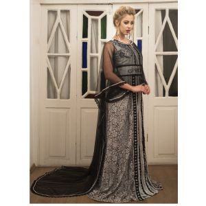 Grey and Black Kaftan Jacket Style Moroccan Dress