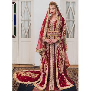 Maroon Moroccan Style Long Sleeve Wedding Kaftan With Trail